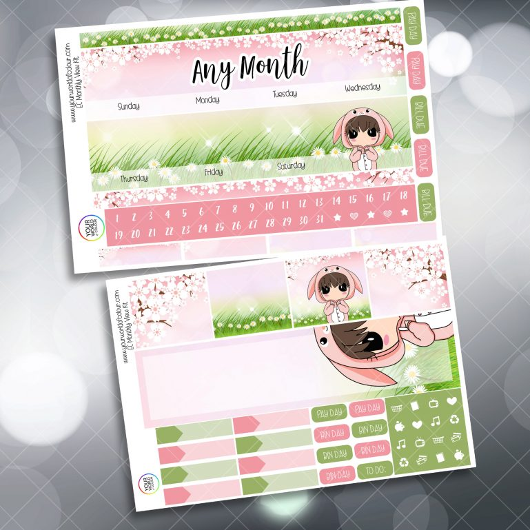 Bunny Monthly Planner Stickers