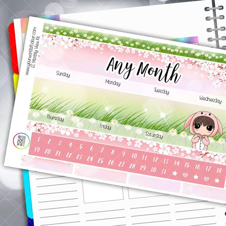 Bunny Monthly Planner Sticker Kit