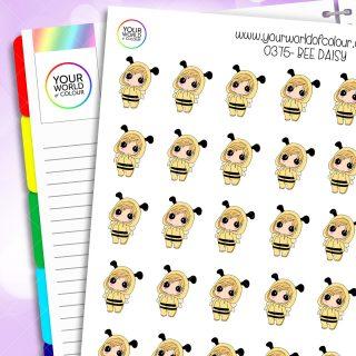 Bee Daisy Character Stickers