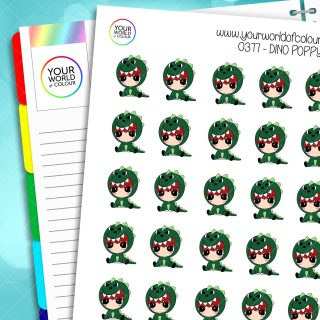 Dino Poppy Character Stickers