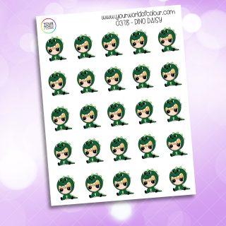 Dino Daisy Character Sticker