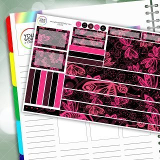 Pretty Pink Flutter Passion Planner Daily Sticker Kit