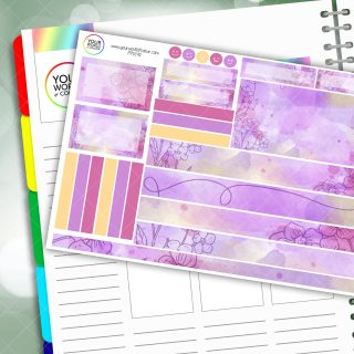 Violet Floral Passion Planner Daily Sticker Kit