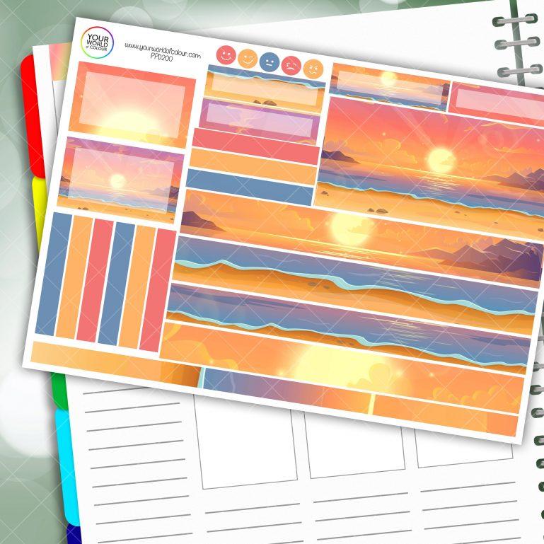 Sunset Beach Passion Planner Daily Sticker Kit