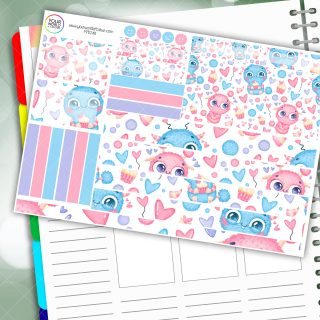 Cute Monster Love Passion Planner Daily Sticker Kit