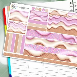 Strawberry Cone Passion Planner Daily Sticker Kit