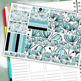 Teal Floral Passion Planner Daily Sticker Kit