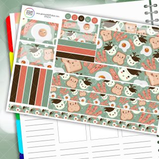 Breakfast Time Passion Planner Daily Sticker Kit