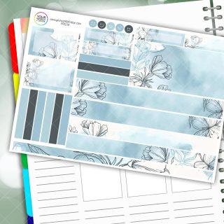 Water Blues Passion Planner Daily Sticker Kit