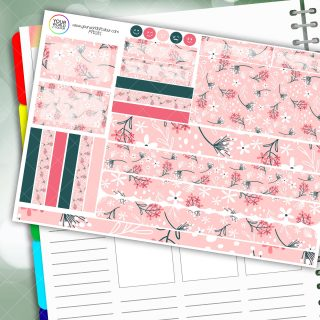 Spring Pink Floral Passion Planner Daily Sticker Kit