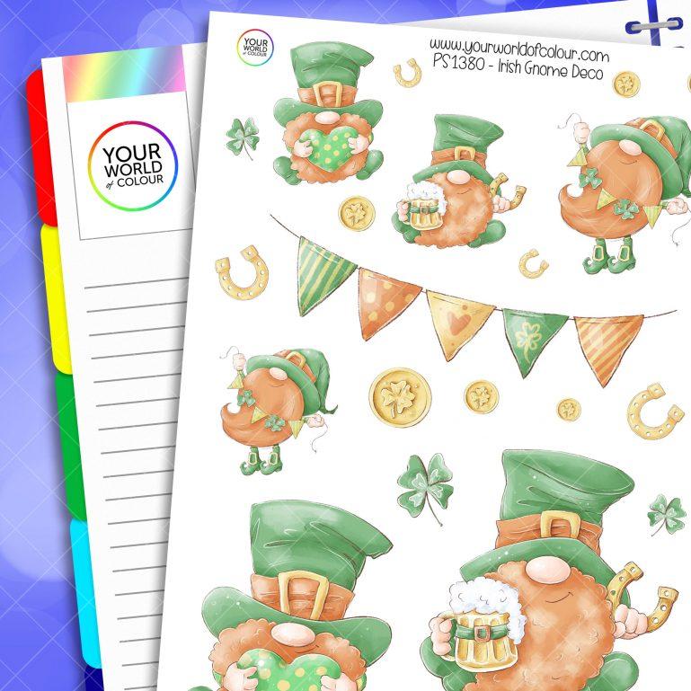Irish Gnome Deco Planner Stickers