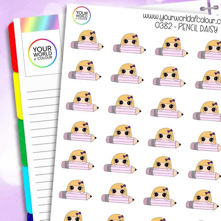 Pencil Daisy Character Sticker