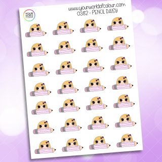 Pencil Daisy Character Stickers