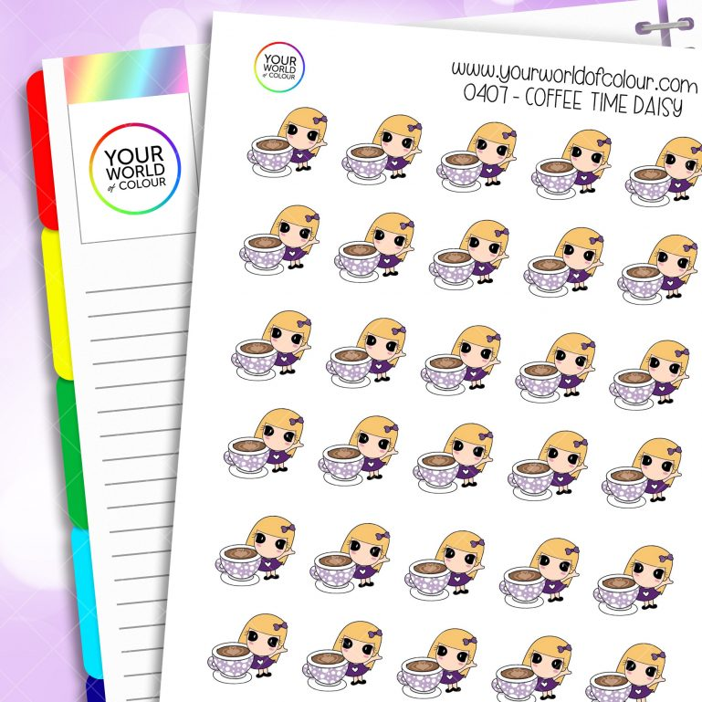 Coffee Time Daisy Character Stickers