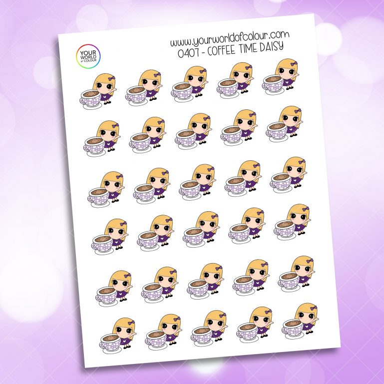Coffee Time Daisy Character Sticker
