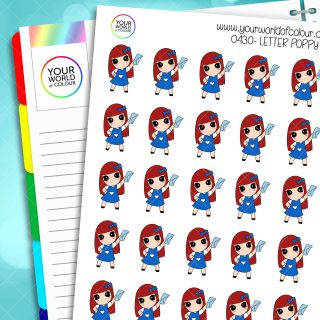 Letter Poppy Character Stickers