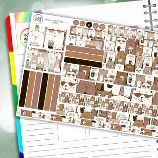 Coffee Cats Passion Planner Daily Sticker Kit