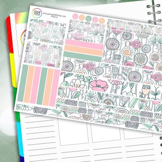 Floral Reflections Passion Planner Daily Sticker Kit