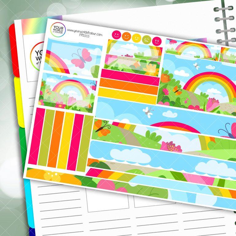 Rainbow Garden Passion Planner Daily Sticker Kit