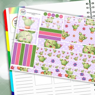 Happy Cactus Passion Planner Daily Sticker Kit