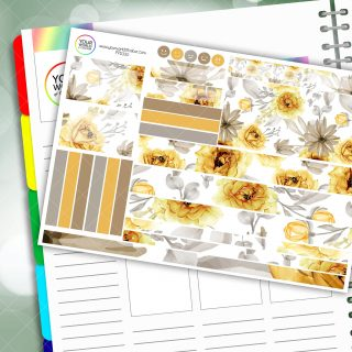 Yellow Flower Passion Planner Daily Sticker Kit