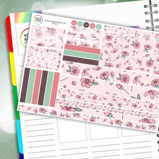 Pretty Pink Floral Passion Planner Daily Sticker Kit