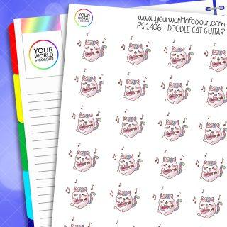 Doodle Cat Guitar Planner Stickers