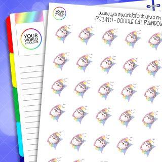 Doodle Cat Rainbow Planner Stickers