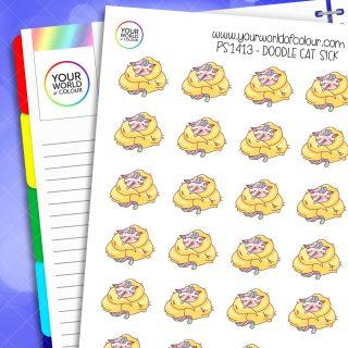 Doodle Cat Sick Planner Stickers