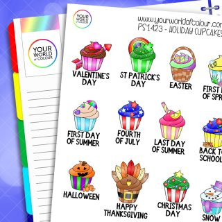 Holiday Cupcake Planner Stickers