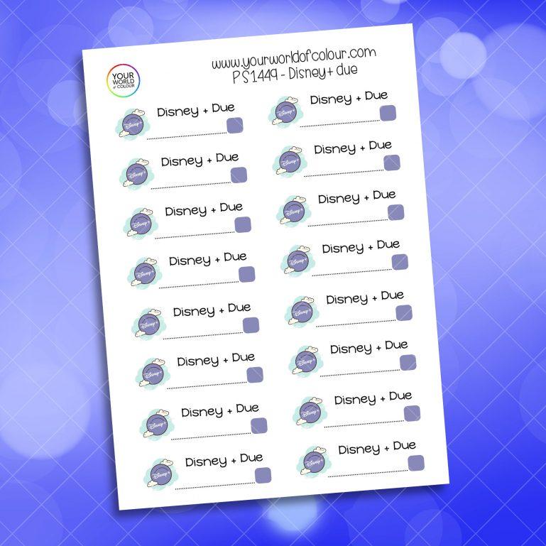 Disney + Due Payment Planner Sticker