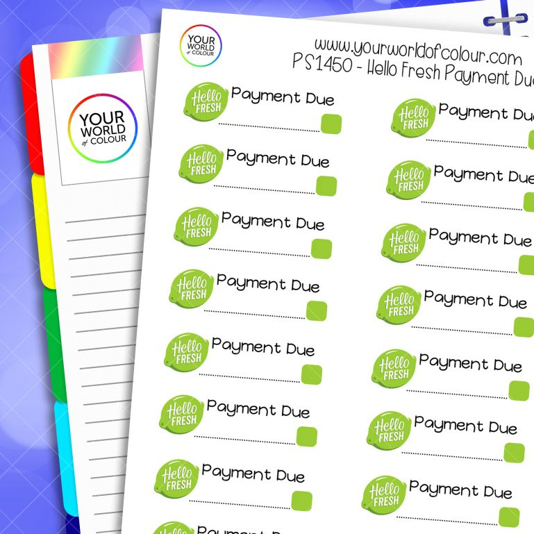 Hello Fresh Payment Due Planner Stickers