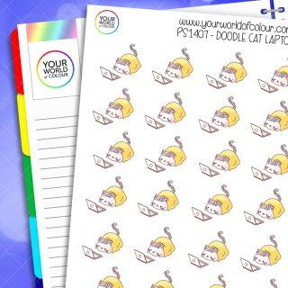 Doodle Cat Laptop Planner Stickers