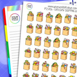 Grocery Shopping Bags Planner Stickers