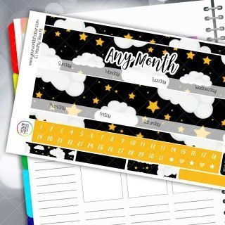 Starry Clouds Monthly Planner Sticker Kit