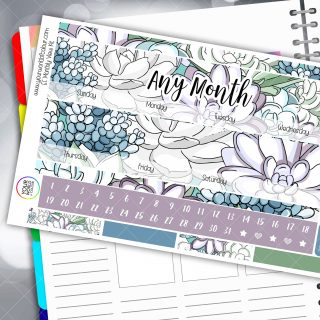 Cactus Monthly Planner Sticker Kit