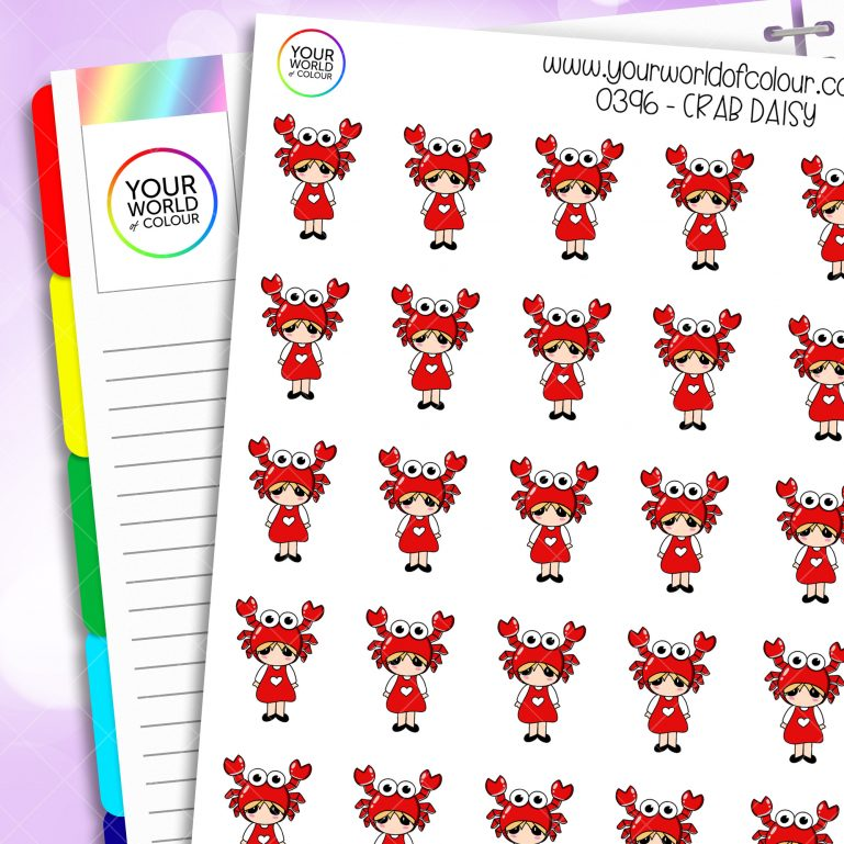 Crab Daisy Character Stickers