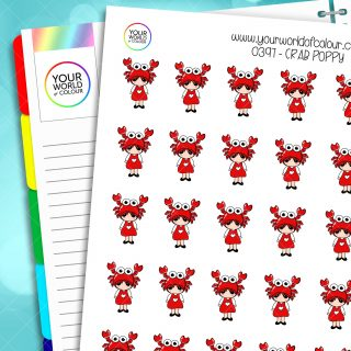Crab Poppy Character Stickers