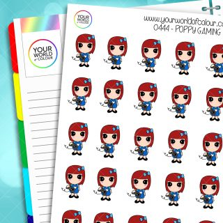 Gaming Poppy Character Stickers