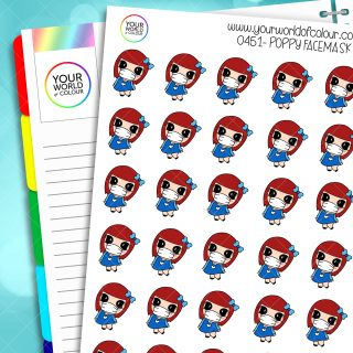 Facemask Poppy Character Stickers