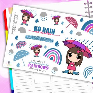 Rain Journaling Planner Stickers
