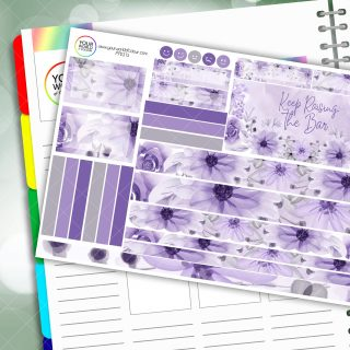 Lilac Floral Passion Planner Daily Sticker Kit