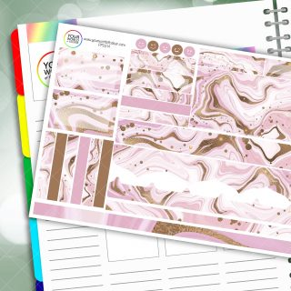 Marbled Pink Passion Planner Daily Sticker Kit