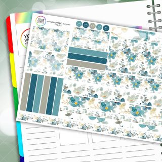 Muted Blue Floral Passion Planner Daily Sticker Kit