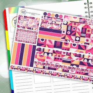 Pink Battenburg Passion Planner Daily Sticker Kit