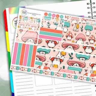 Mushroom Men Passion Planner Daily Sticker Kit