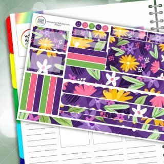 Purple Lush Floral Passion Planner Daily Sticker Kit