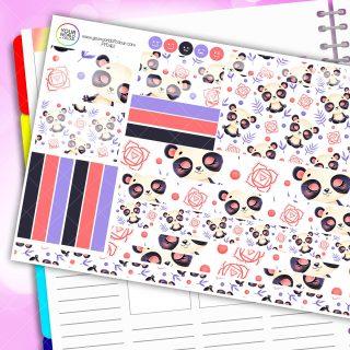 Panda Zen Passion Planner Daily Sticker Kit