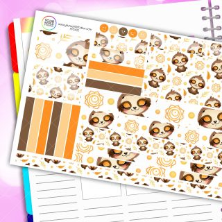 Chilled Sloth Passion Planner Daily Sticker Kit