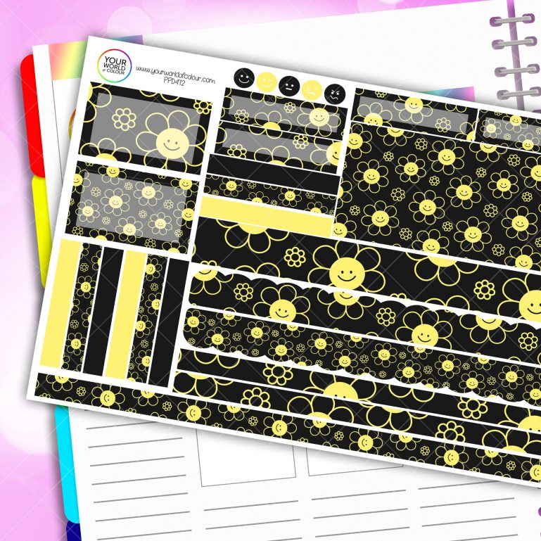 Smiley Flower Passion Planner Daily Sticker Kit